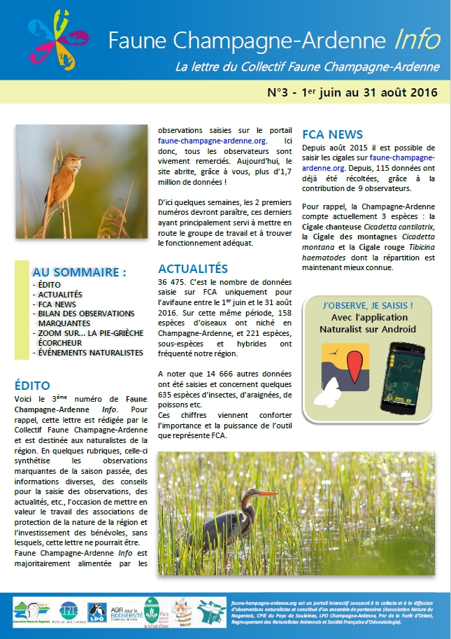 Couverture de Faune Champagne-Ardenne Info n°3